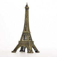Wholesale Bronze Statues Wholesale - 1Pcs 15cm Bronze Paris Eiffel Tower Metal Crafts Figurine Statue Model Home Figurines Mini Landscape Fairy Decors Souvenir