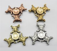 Wholesale Kids Pirate Ships Toys - Retro Three-leaf Pirate Ship Hand Spinner Skull Fidget Spinners Zinc Alloy Metal Tri-spinner 4 color EDC Finger Toys For Autism And ADHD