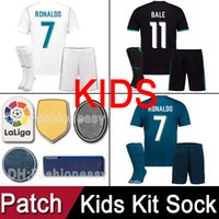 parches azules al por mayor-Top thailand AAA kit para niños 2017 2018 Real Madrid RONALDO Camisetas de fútbol 17 18 Camisetas de fútbol Black Blue white Camisetas uniformes con parches
