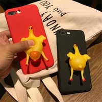 Wholesale New Egg Cases - New Funny 3D cartoon animals vent toys doll pinch lay egg hen chick soft tpu phone case For Iphone 6 6s 6plus 6splus 7 7plus 8