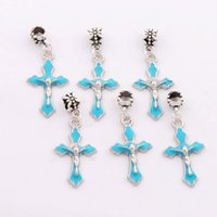 Wholesale Enamel Beads Dangle Charm - Enamel Crucifix Cross Big Hole Beads 5Colors 80pcs lot Dangle Fit European Charm Bracelets B499 18x43mm