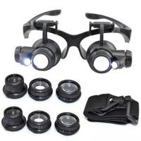 tamir gözlükleri büyütmek toptan satış-Sıcak 10X 15X20X25X büyüteç Çift LED Işıkları Göz Gözlük Lens Büyüteç Büyüteç Kuyumcu İzle Onarım Araçları