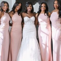 Wholesale elegant halter lace wedding dress for sale - Pink Bridesmaid Dresses Long Mermaid Sleeveless Off Shoulder Halter Bridesmaid Dresses Elegant Long Maid Of Honor Wedding Party Gowns