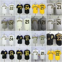 Wholesale Andrew Mccutchen Jersey - 21 Roberto Clemente Jersey Mens Pittsburgh Pirates 24 Barry Bonds 22 Andrew McCutchen Flexbase Cooperstown Pullover Stitched Yellow Black