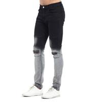 Wholesale Gradient Jeans Men - 2017 Gradient Color Ripped KneeNew Men Biker Jeans Fashion Casual Skinny Slim Ripped Hip Hop Urban Jeans vT0278