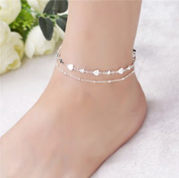 Wholesale handmade barefoot sandals - Vintage Ankle Chain S925 Sterling Silver Multi Layer Star & Heart Handmade Ankle Bracelets Ankle Chain Barefoot Sandals Womens Anklet