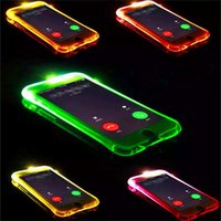 Wholesale Case Flash Light - Call Lightning Flash LED Light Up Case Soft TPU Transparent Cases Shockproof Cover For iphone 5s 6 6s plus 7 7 plus samsung s8 s8 plus s7