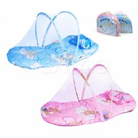 Wholesale Blue Floral Crib Bedding - Wholesale-Blue Pink Portable Infant Baby Bed Crib Foldable Mosquito Net Cushion Mattress Pillow Hot