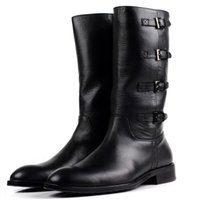 Wholesale Mens High Heel Motorcycle Boots - New Fashion Zipper Black Mens Winter Warm Boots Genuine Leather Motorcycle Boots High Quality Mid Calf Mens Boots with Buckle