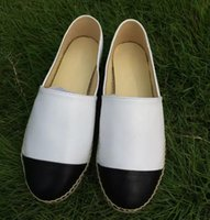 Wholesale Thick Sole Platform Shoes - High quality Brand designer espadrilles genuine leather Thick soles canvas shoes women's Platform shoes fashion flats shoes Plus Size 35-42