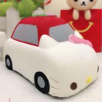 Wholesale Original Car Phone - Original Kitty Car Squishy Slow Rising Jumbo Pussy Cat Phone Straps Pendant Soft Scented Bread Cake Kid Toy Fun Gift