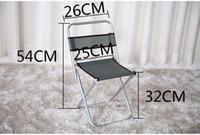 taburete plegable portátil silla al por mayor-Al por mayor-Metal portátil plegable taburete silla de pesca escritorio al aire libre 54 * 26 * 32 cm boceto con poca superficie trasera de la silla