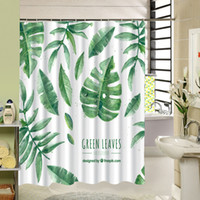 Wholesale Green Leaves Shower Curtain American Modern Garden Style Bathroom Shower Curtain Waterproof Thicken Polyester Kitchen Door Curtains