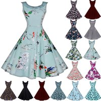 Wholesale Pinup Mini Dress - Fashion Womens Summer 50s 60S Floral Swing Vintage Sleevless Retro Prom Ball Housewife Pinup Chiffon Casual Rockabilly Evening Party Dress