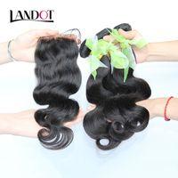 Wholesale Eurasian Virgin Unprocessed Hair - Eurasian Virgin Hair Body Wave With Closure 8A Unprocessed Human Hair Weaves 3 Bundles And 1 Pcs Top Lace Closures Natural Black Extensions