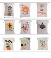 Wholesale Halloween Party Treats - Halloween Candy Gift Sack Treat or Trick Pumpkin Printed Bat Canvas Bag Children Party Festival Drawstring Bag