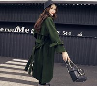 Wholesale Cheap Womens Jackets Coats - Womens trench coats long wool army green winter jacket women turtle neck blends outwear coat cute vintage cheap spring ladies warm jackets
