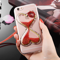 Wholesale sexy lips iphone case - For Samsung galaxy note 3 4 5 8 Diamond Funnel Glitter Liquid sexy lips lanyard Soft Acrylic case cover
