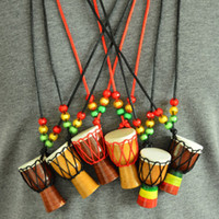 Wholesale drum percussion instrument for sale - Djembe Percussion Musical Instrument Necklace African Drum MINI Jambe Drummer For Sale Fashion accessories Gift toy