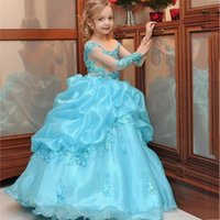 Wholesale Children S Green Princess Dresses - 2017 Costume Made First Communion Dresses Long Sleeves For Girls Prom Children Girls Cute Princess Floor Length Pageant Dresses