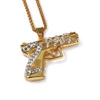 "Wholesale 2pac Gun - Men's 18k Gold Plated Hip Hop Necklace 2PAC Pistol Gun CZ Crystal Pendant Necklace 30"" Wheat Chain Necklace Jewelry"