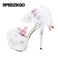 Wholesale White Sandal Heels Flowers - Women Pumps Bride Fetish Wedding Sandals Super High Heels Ankle Strap Crystal Extreme Open Toe 14cm Flower Lace White Platform