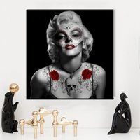 Wholesale Modern Abstract Painting Black Red - ZZ983 black white red canvas prints art modern marilyn monroe portrait canvas oil art painting for livingroom bedroom decoration