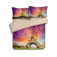 Wholesale Eiffel Tower Comforter Set Queen - Paris The Eiffel Tower Scenery 3D Printed Bedding Sets Single Twin Full Queen King Size Quilt Duvet Covers 3pc Adult Bed Linens