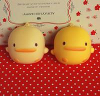 Wholesale Rilakkuma Key - wholesale 7cm*6cm kawaii squishy fragrance Yellow duck queeze bun toys for cell phone keys squishies Rilakkuma bread free shipping