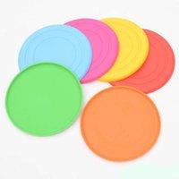juguetes para mas al por mayor-Frisbee de 6 colores, fabricado en silicona de 18 cm, juguetes interactivos con mascotas, material blando, más seguro para mascotas.