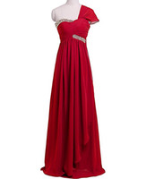 Wholesale Short Feather Prom Dress Cheap - 2017 Cheap Chiffon Long Bridesmaid Dresses One-Shoulder Sleeves Long Prom Dresses Formal Party Gown Wedding Guest Plus Size Dress