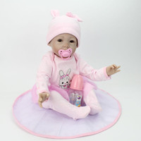Wholesale Baby Girl Pacifiers - 55cm Height Reborn Baby Dolls Realistic Soft Lovely Silicone Dolls Newborn Lifelike Alive Reborn Baby Girl with Pacifier