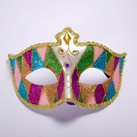 Wholesale random schools online - Womens Venetian Mask With Color Glitter Painted Carnival Costume Mask w Bells Mardi Gras One Size Fits Most Deliver Random