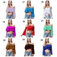 amerika birleşik devletleri moda tişörtleri toptan satış-Katı saf renk kadın Straplez yaka şerit bayanlar T-shirt kız moda tank top Avrupa ve Amerika Birleşik Devletleri bayan gömlek