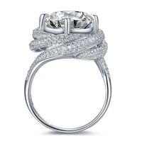 kundenspezifische geschenksets großhandel-Größe 5-11 Pave Einstellung Rundschnitt 3CT Luxus Schmuck 925 Sterling Silber Weiß Topaz CZ Diamant Hochzeit Engagement Finger Custom Ring Geschenk