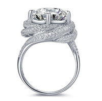 Wholesale 3ct Engagement Rings - Size 5-11 Pave Setting Round Cut 3CT Luxury Jewelry 925 Sterling Silver White Topaz CZ Diamond Wedding Engagement Finger Custom Ring Gift