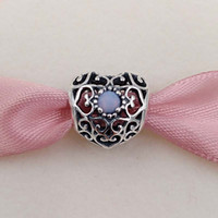 Wholesale European Beads Birthstone - October Signature Heart Birthstone Charm 925 Sterling Silver Beads Fits European Pandora Style Jewelry Bracelets & Necklace 791784NOP