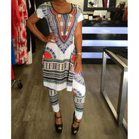 Wholesale Two Piece Ladies Dress Suits - 2017 Summer 2 Two Piece Set Women Ladies Sexy African Print Outfits Short Sleeve Casual Bodycon Dashiki Dress+Long Pants Suit 17301