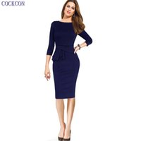 Wholesale Mother Bride Casual - COCKCON Womens Ruched Elegant Vintage Embroidery Party Mother of Bride Special Occasion Pencil Sheath Bodycon Dress 150103
