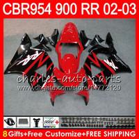Wholesale Honda Cbr954rr Fairings - Body For HONDA CBR900RR CBR954 RR CBR954RR 02 03 CBR900 RR 66HM23 CBR 900RR CBR 954 RR CBR 954RR 2002 2003 Fairing kit 8Gifts Factory red