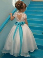 Wholesale Special Organza Wedding Dresses - Lace Organza special design of back Floor-length Ball Gown Sash Beads Bow Lovely Flower Girl Dresses Pageant Girl Dresses