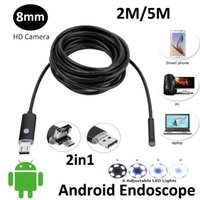 2 In1 AN99 2MP 5 Mt 2 Mt Android USB Endoskop HD Kamera 8mm IP67 Walterproof Schlange USB Kamera HD720P Android Mobile USB Endoskop