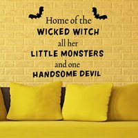 Wholesale Decorative Wall Decals Letters - 2017 Halloween Quote Wall Decorative Sticker Mural Letter Wall Vinyl Decal for Living Room Porch Bedroom Home Decor Removable
