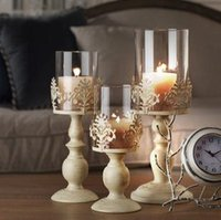 Wholesale Craft Glass Ornaments Wholesale - 2017 European iron candlestick metal crafts creative Wedding Candle romantic candle Home Furnishing new jewelry ornaments