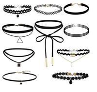 Wholesale Gothic Jewelry Lace Choker - Fashion necklaces Gothic Punk Velvet Tattoo Lace Choker Collar Pendant Necklace party event charm jewelry women Christmas gift