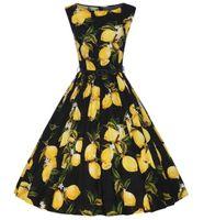 Wholesale Big Swing - 2017 Vintage Women Summer Dresses 50s 60s Lemon Printed Sleeveless Tank Party Big Swing Rockabilly Dress Pinup Vestido with Belt