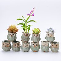 Wholesale Small Potted Artificial Flowers - Cartoon Owl-shaped Flower Pot for Succulents Fleshy Plants Planter Ceramic Mini Small Home Garden Decoration
