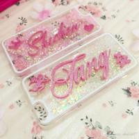 Wholesale Galaxy Note Case Korea - for Samsung galaxy s6 s7 s8 edge plus note 5 Korea 3D Exclusive Customize Name Personal Glitter liquid soft case