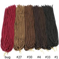 Wholesale Synthetic Hair Extentions - 18inch 20strands Kanekalon Dreadlock Extentions Soft Crochet Braid Brown Synthetic Braiding Hair Dread Hair Faux Locs
