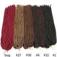 Wholesale Brown Hair Extentions - 18inch 20strands Kanekalon Dreadlock Extentions Soft Crochet Braid Brown Synthetic Braiding Hair Dread Hair Faux Locs